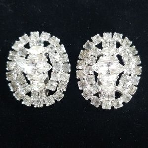 Vintage La Rel Clear Rhinestone Clip On Earrings